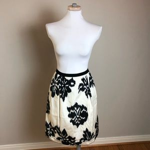Oscar De La Renta Silk Ikat Skirt Ivory and Blue